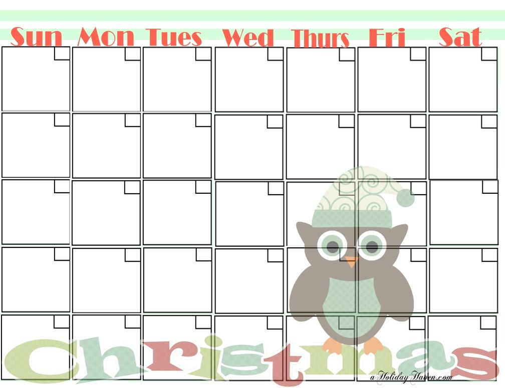 Christmas 2015 Calendar Printable Free