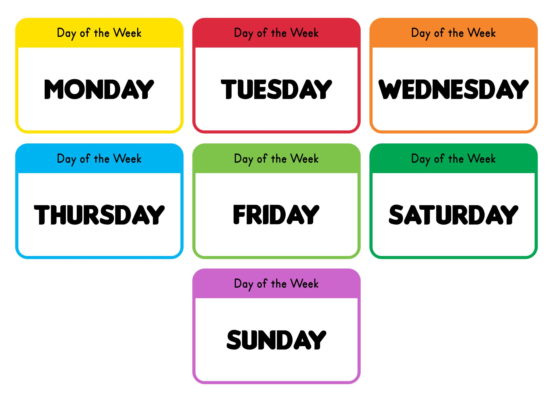 Days of the Week Monday