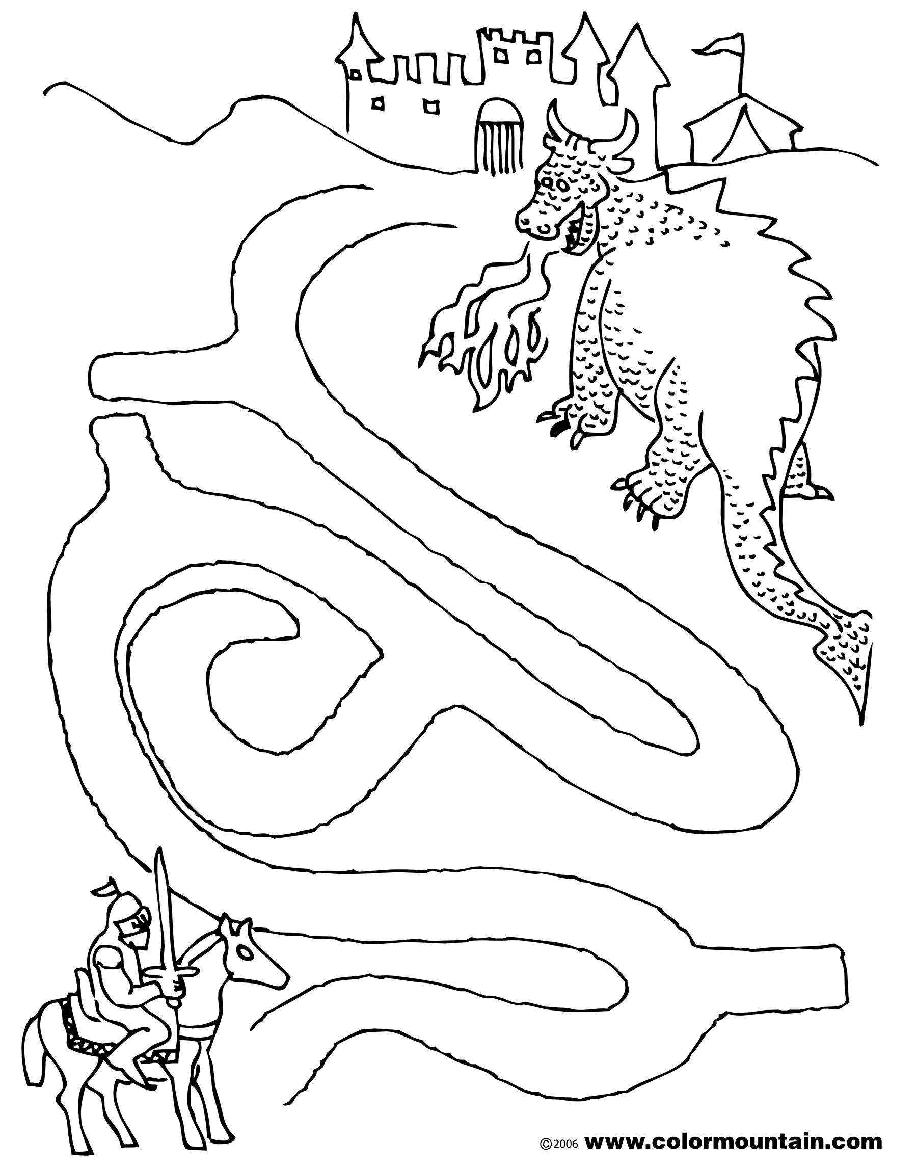4 Images of Dragon Maze Printable Coloring Pages