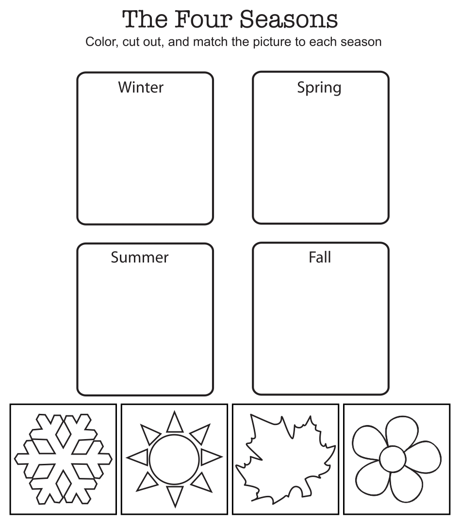 math worksheet : 6 best images of season and weather free printables  free  : Kindergarten Seasons Worksheets