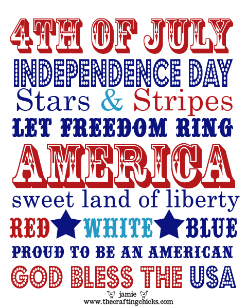 Fourth of July Subway Art Printable