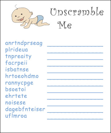 6 Images of Printable Baby Shower Unscramble Words