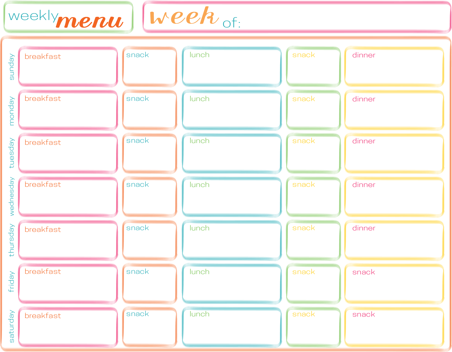 Free Printable Blank Weekly Menu