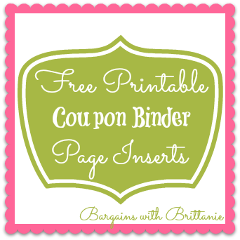 Printable Coupon Binder Inserts