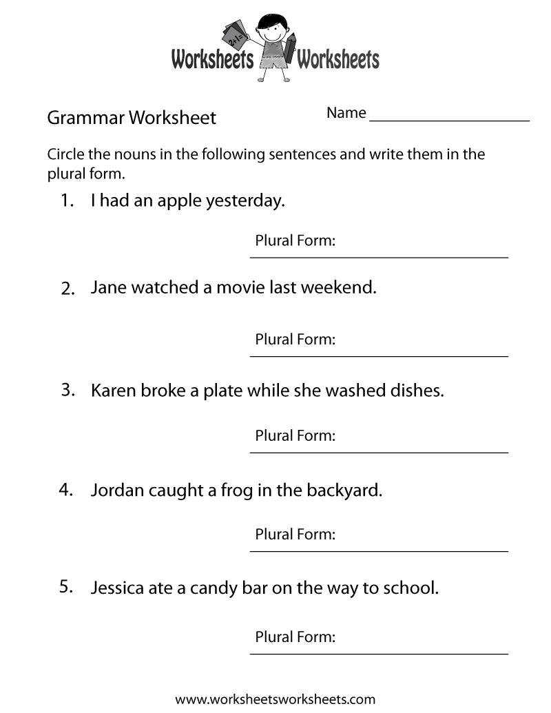 Worksheet Basic English Grammar Worksheets free basic grammar worksheets for kids delwfg com for