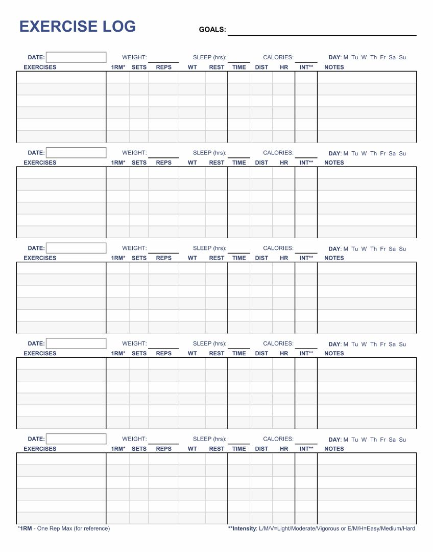 Free Printable Exercise Logs Journals
