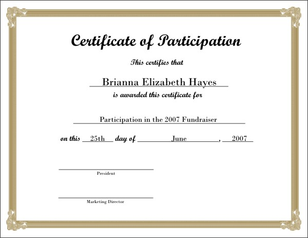 5 Images of Fill In Certificates Printable