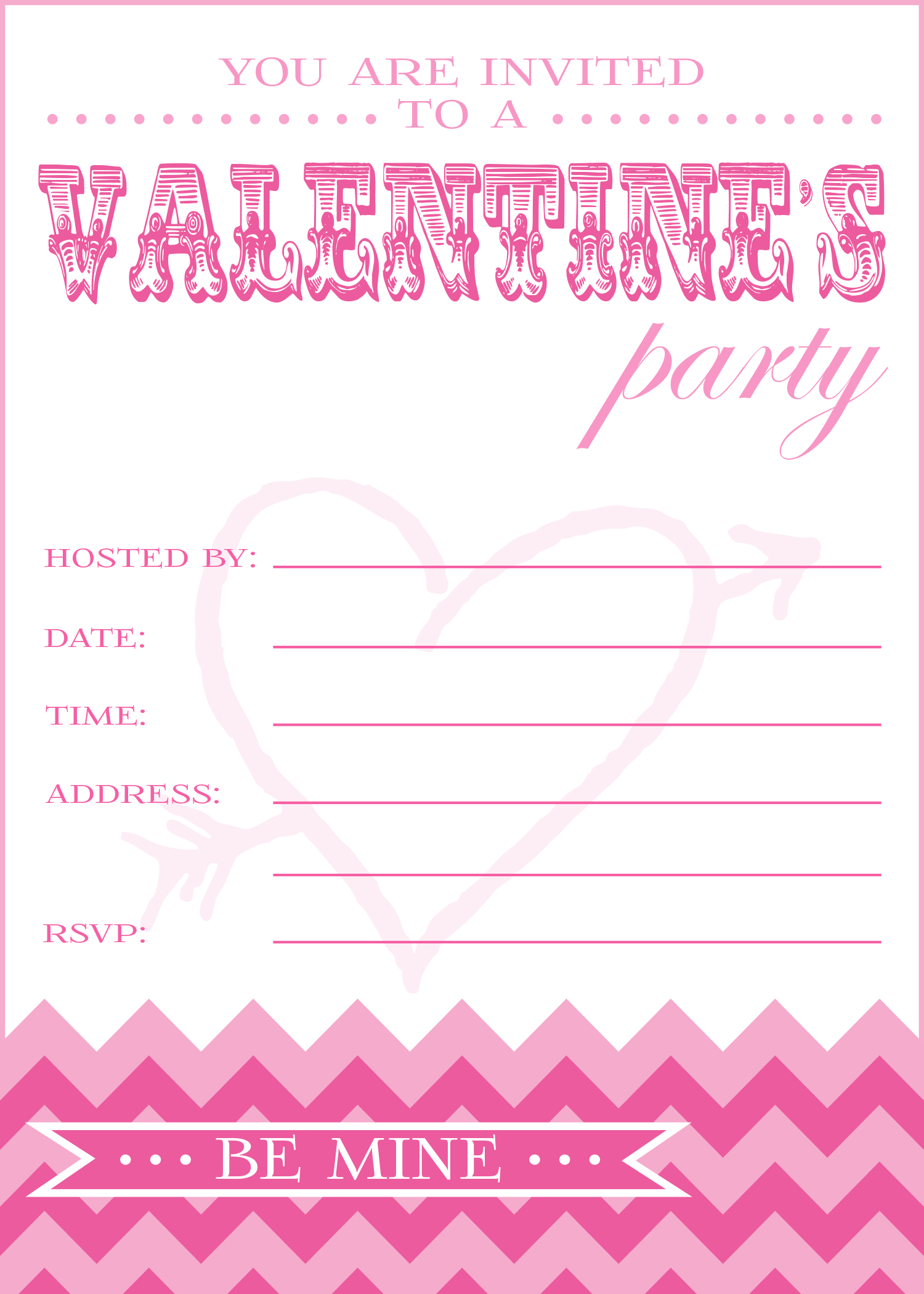 9 Images of Valentine's Day Printable Party Invitations