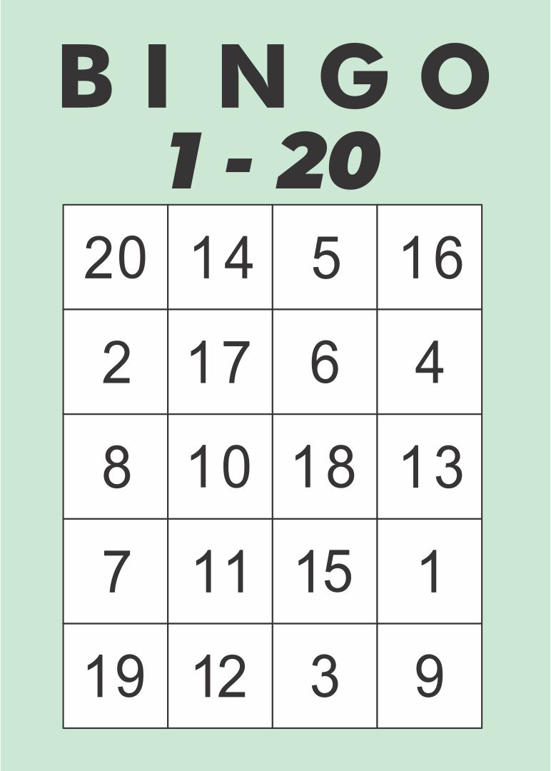 Printable Number 1-20 Bingo Cards