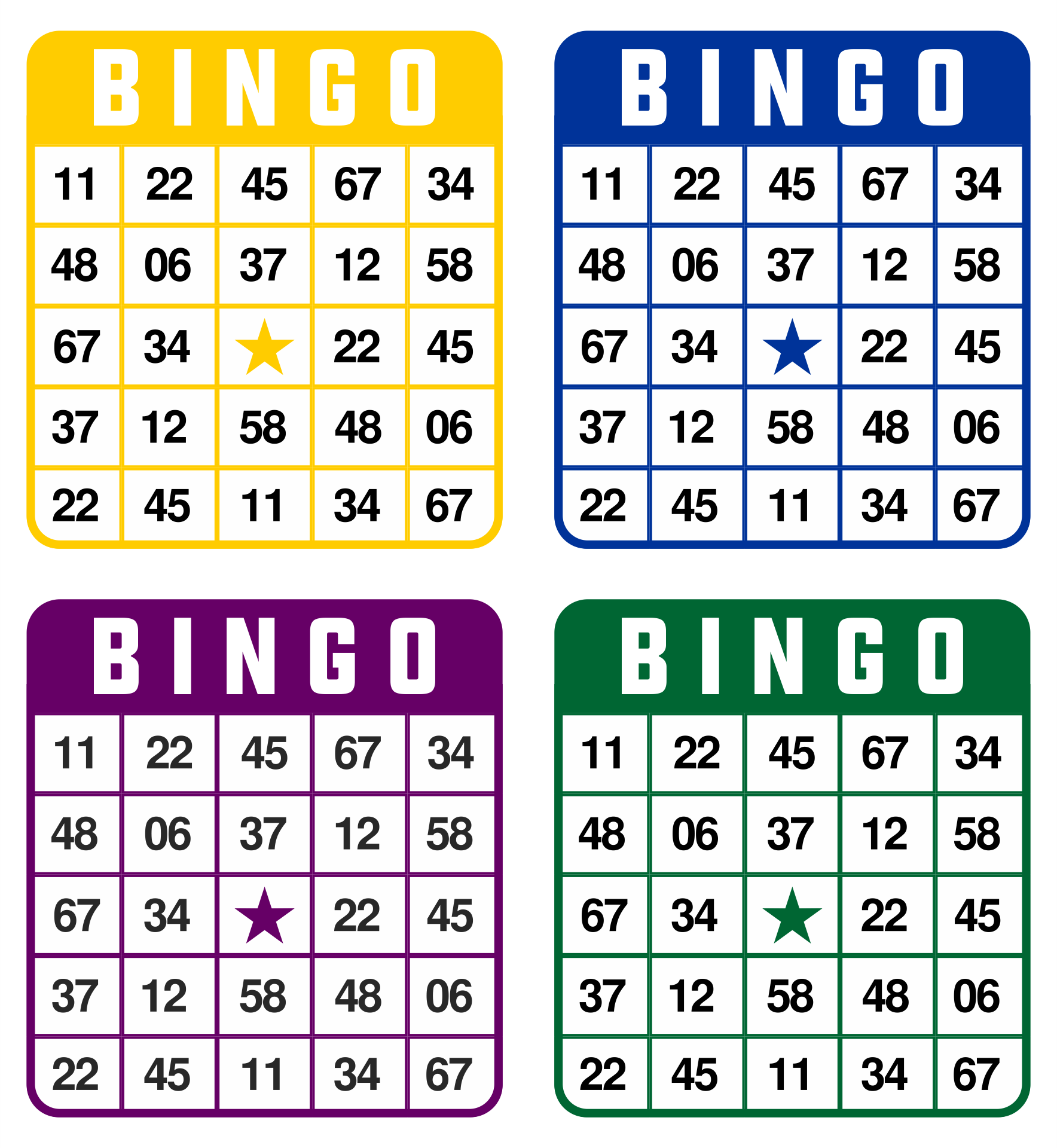 Printable Number Bingo Cards