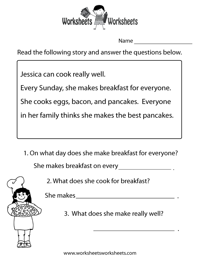Comprehension Worksheets For Kids Scalien – Comprehension Worksheets Kindergarten