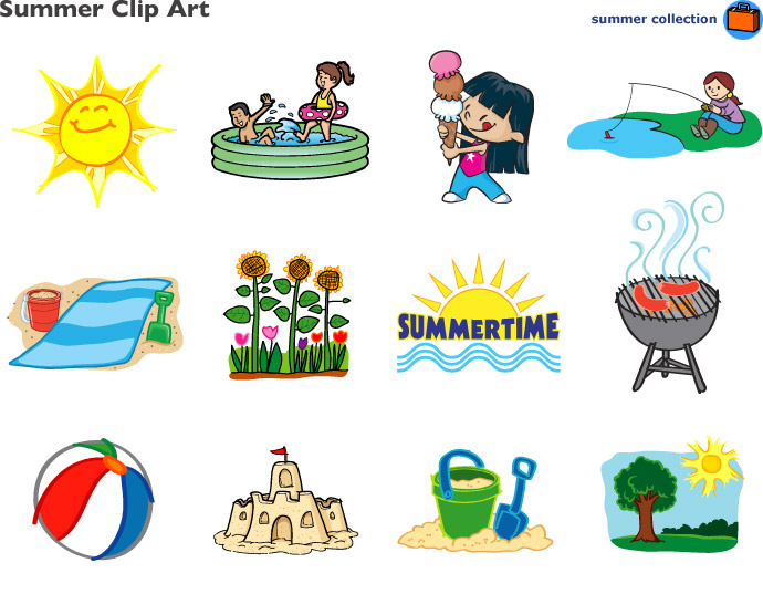 8 Images of Printable Summer Clip Art