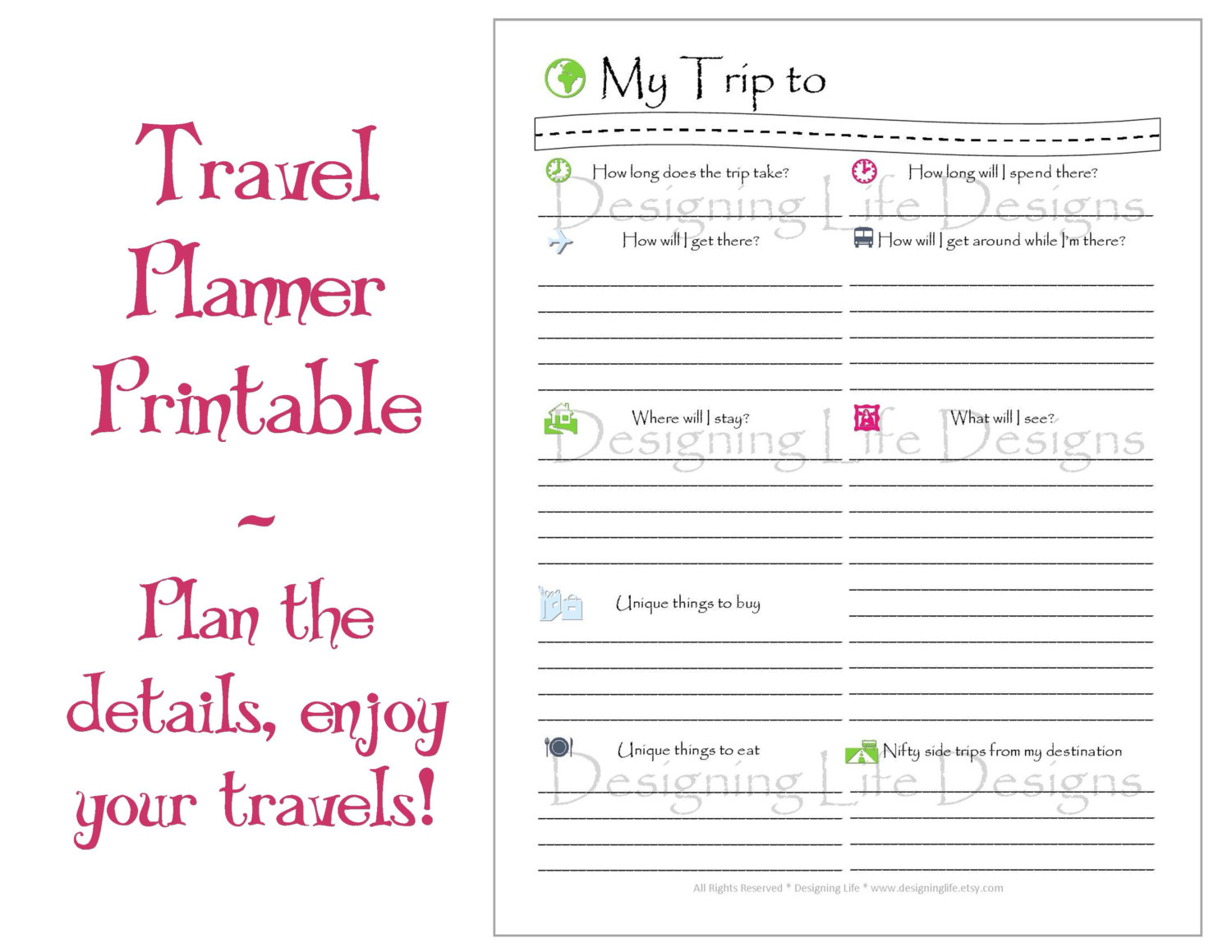 9 best images of travel planner template printable for Blank trip itinerary template