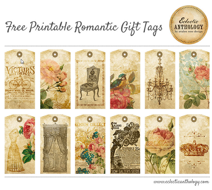 7 Images of Vintage Rose Gift Tags Printable Free