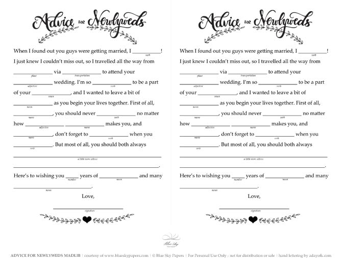 guest libs wedding edition template - 9 best images of wedding day mad lib printable free