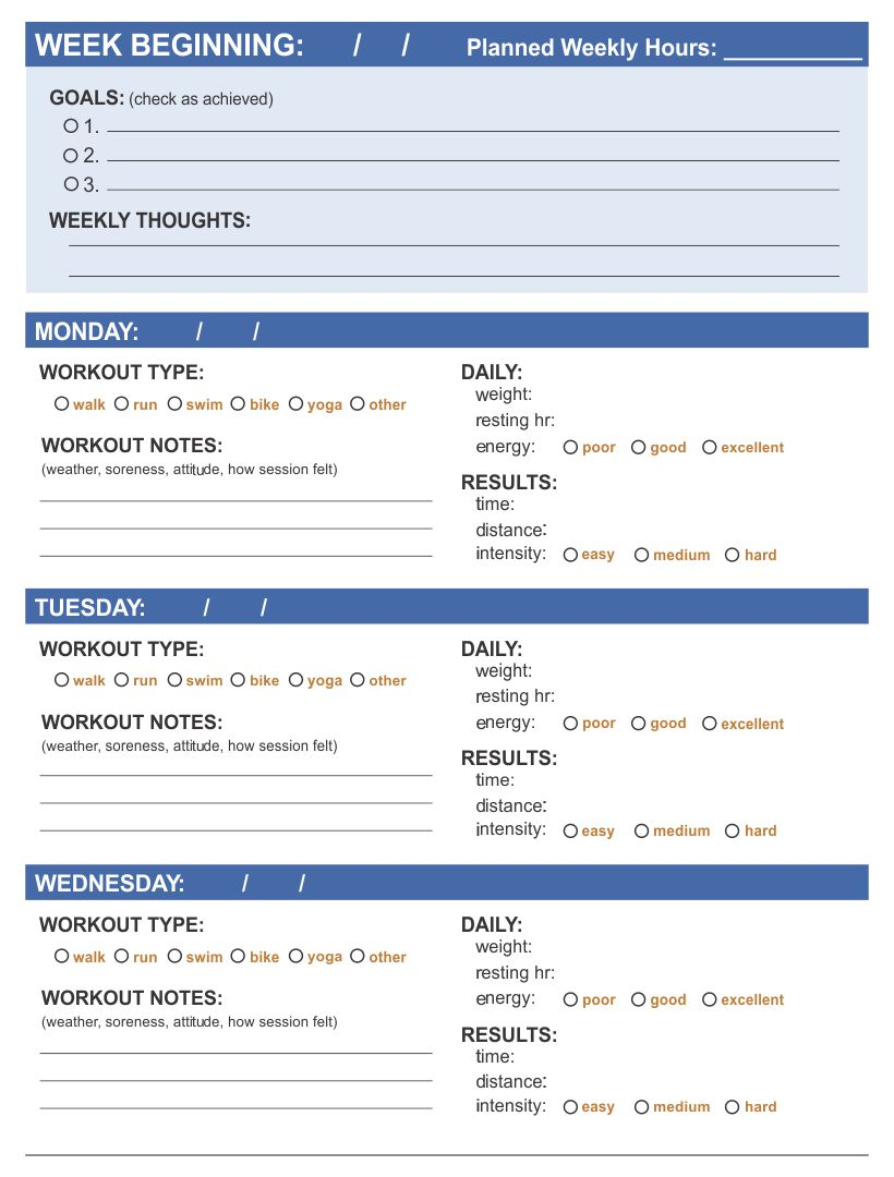 Free Workout Log PDF