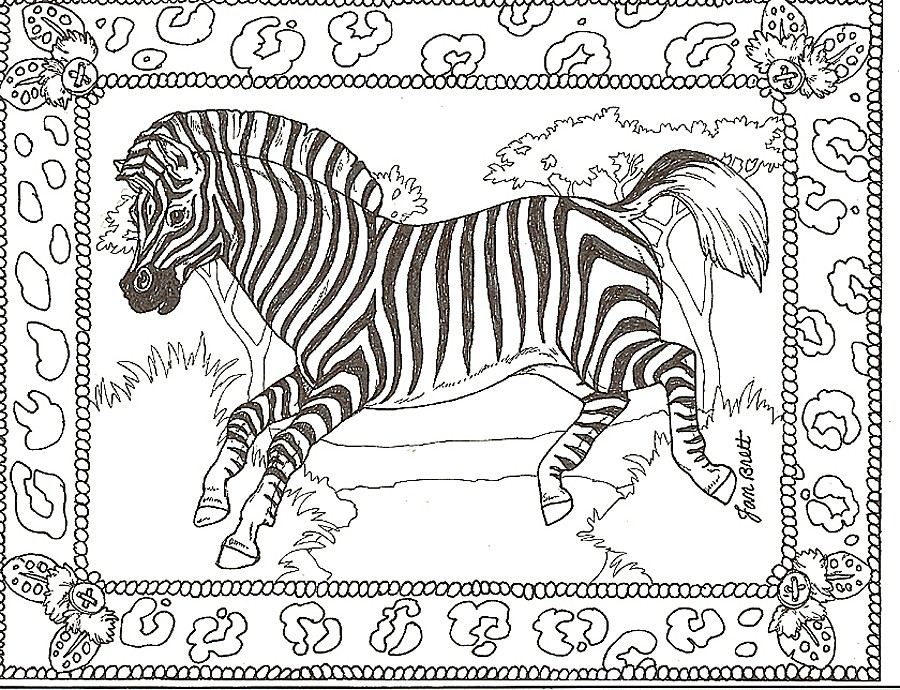 4 Images of Free Printable Zebra Coloring Pages