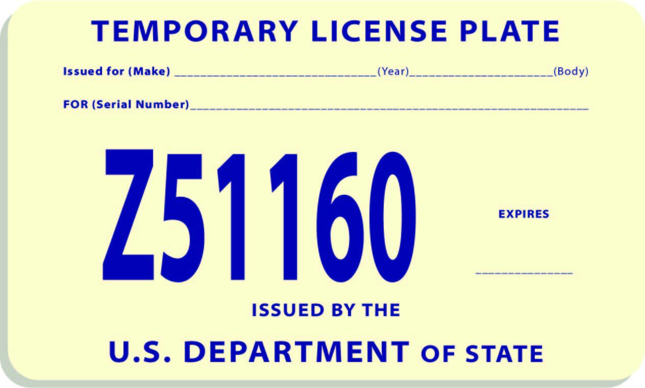 Georgia Temporary License Plate
