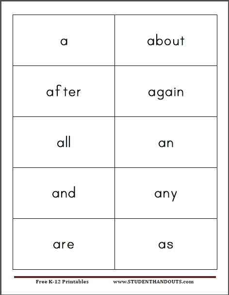 Free printable kindergarten sight words flash cards