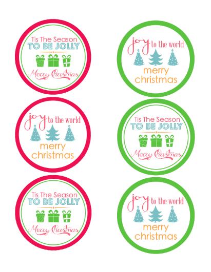 7 Images of Free Printable Christmas Mason Jar Lid Labels