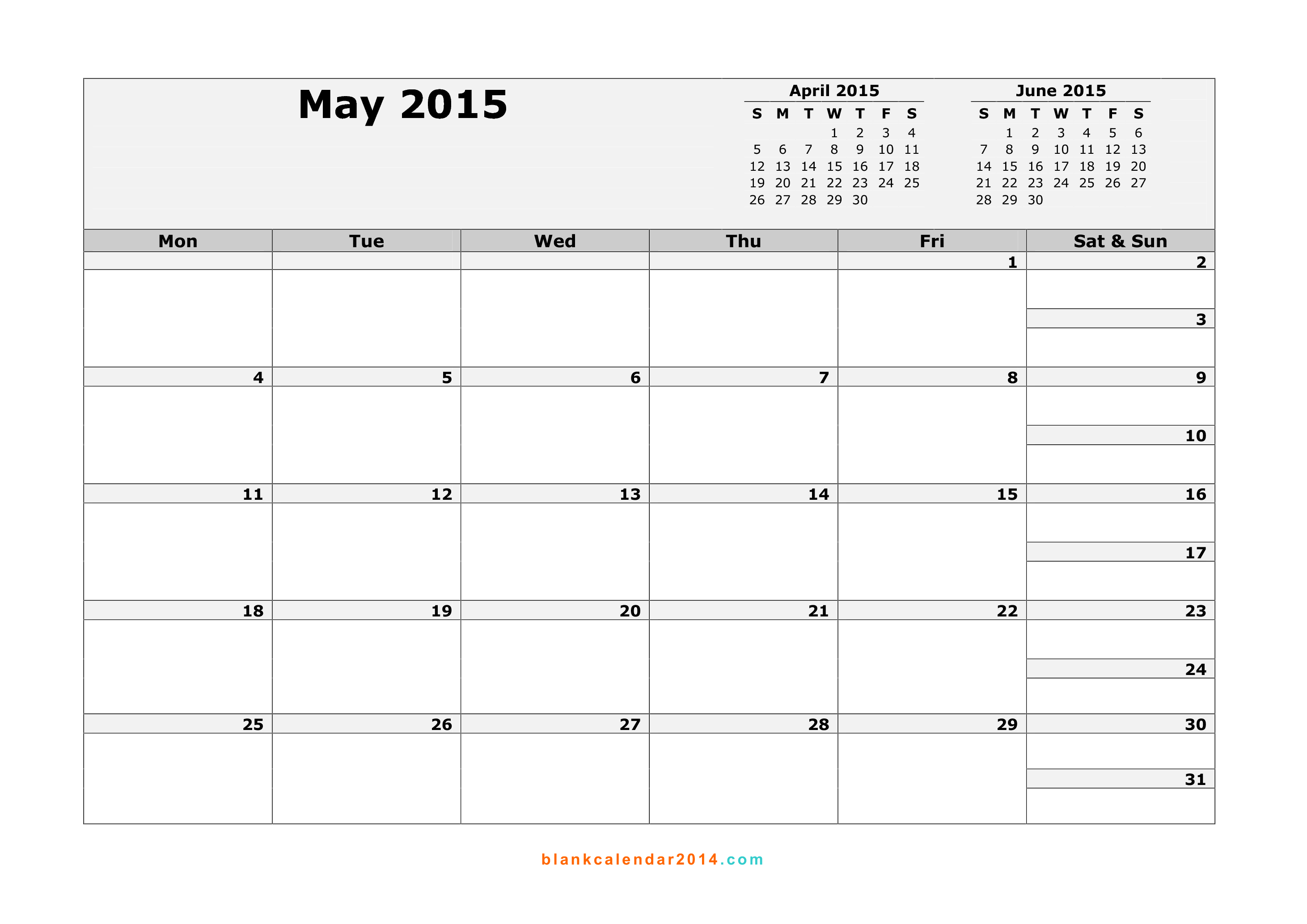 Calendar 2015 April May
