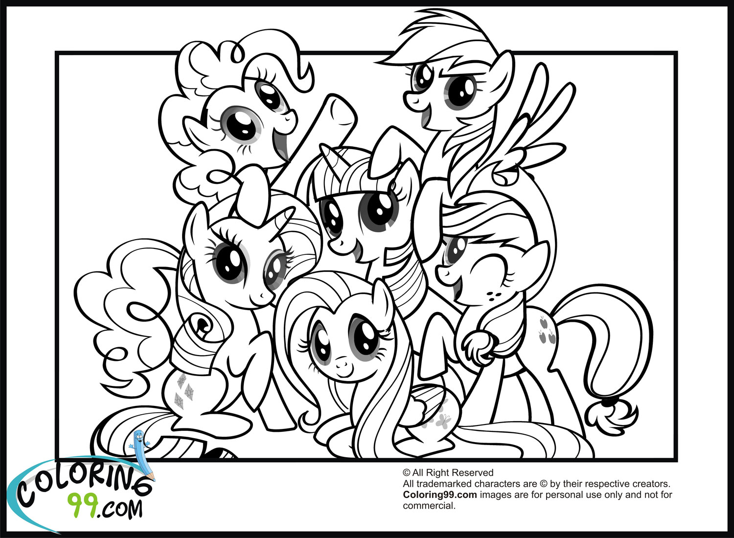 6 Images of My Little Pony Printable Cards To Color