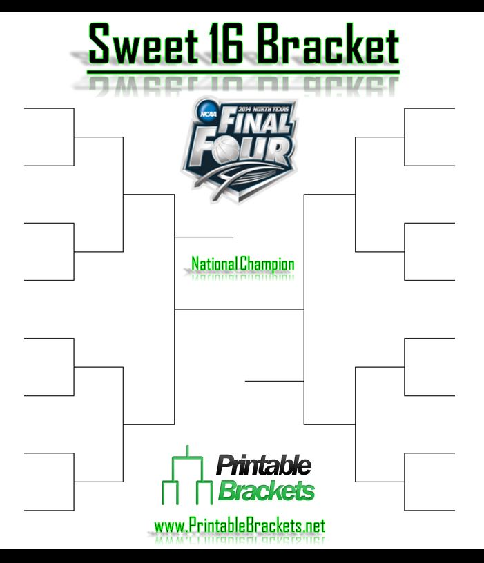 4 Images of Printable NCAA Sweet 16 Bracket 2015