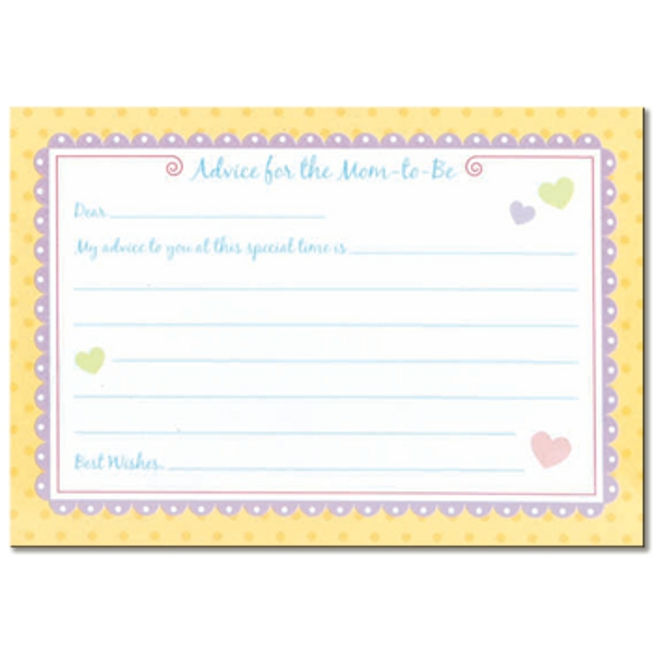 - Baby Shower Mommy Advice Cards, New Mommy Advice Card Template ...