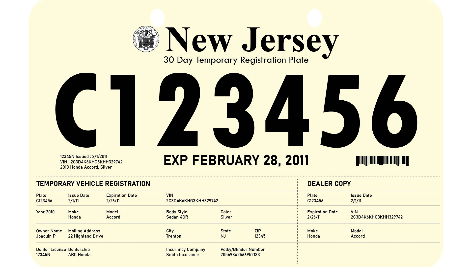 7 best images of printable license plate temp nj temporary license plate printable florida. Black Bedroom Furniture Sets. Home Design Ideas
