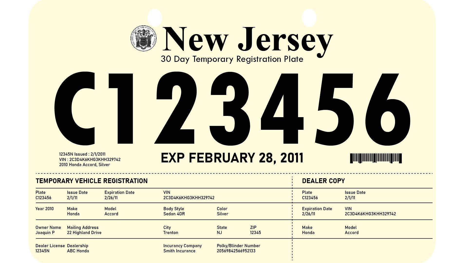 NJ Temporary License Plate Printable