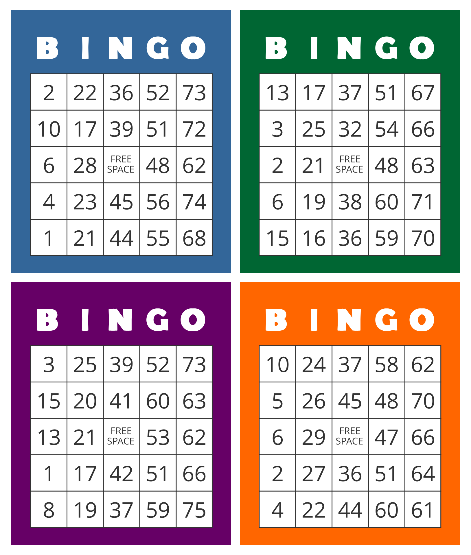 Printable Bingo Cards with Numbers