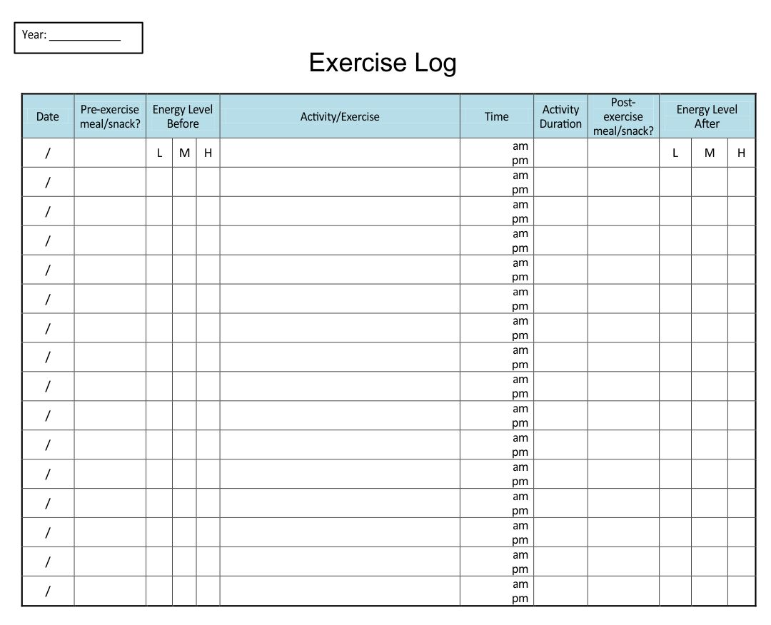 Printable Exercise Log Workout