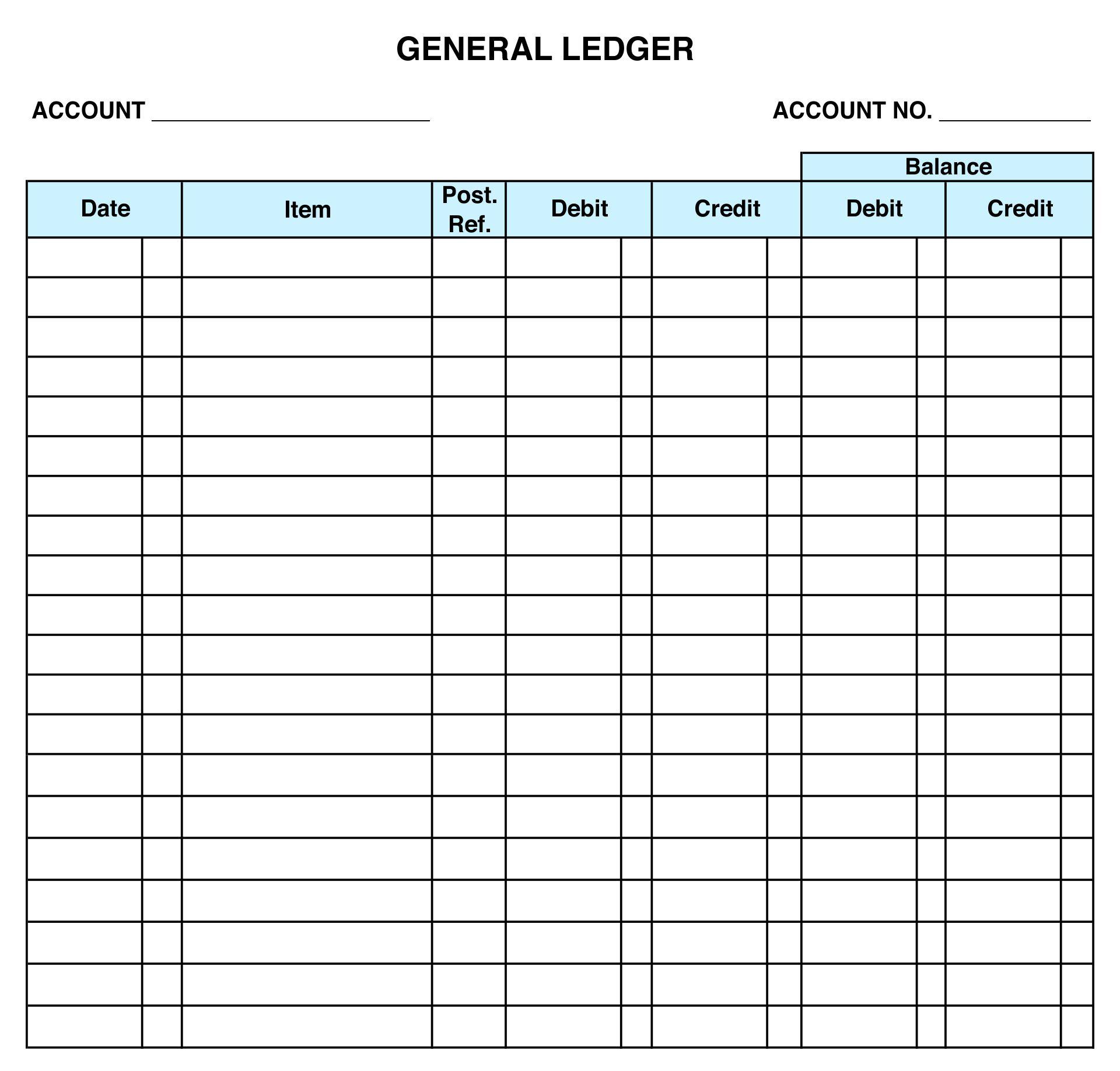 Printable General Ledger Sheet Template