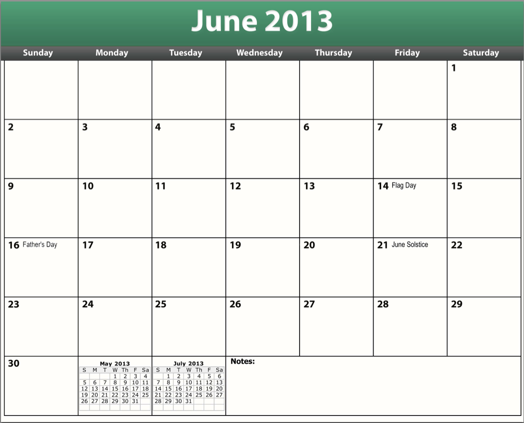 Printable June 2013 Calendar Template