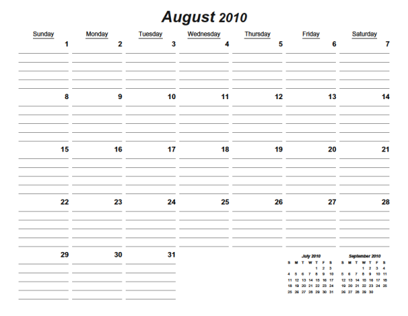 7 Images of Free Printable Lined Monthly Calendars August 2015