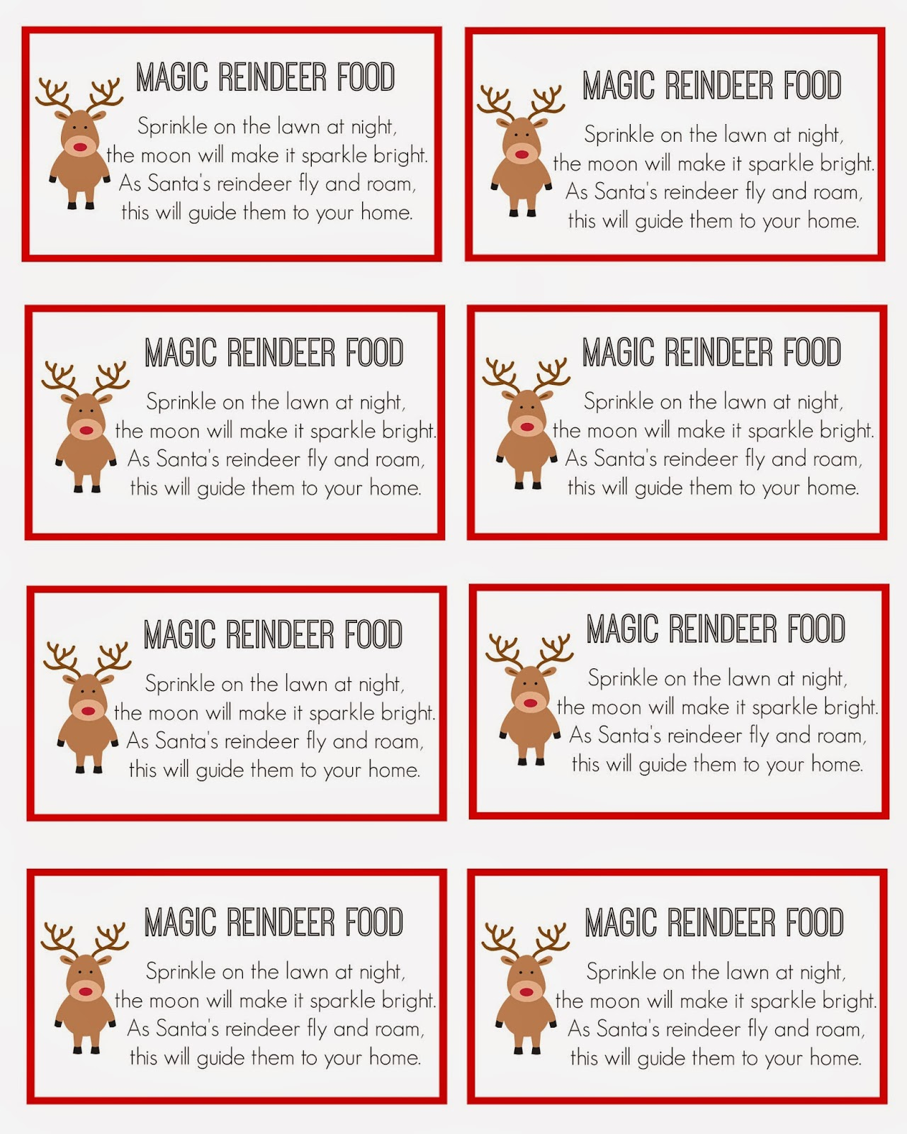 ... Reindeer Food Labels, Reindeer Food Poem Printable and Magic Reindeer