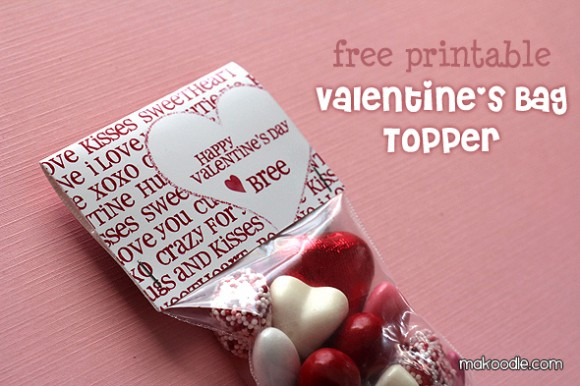 8 Images of Printable Valentine Bag Toppers