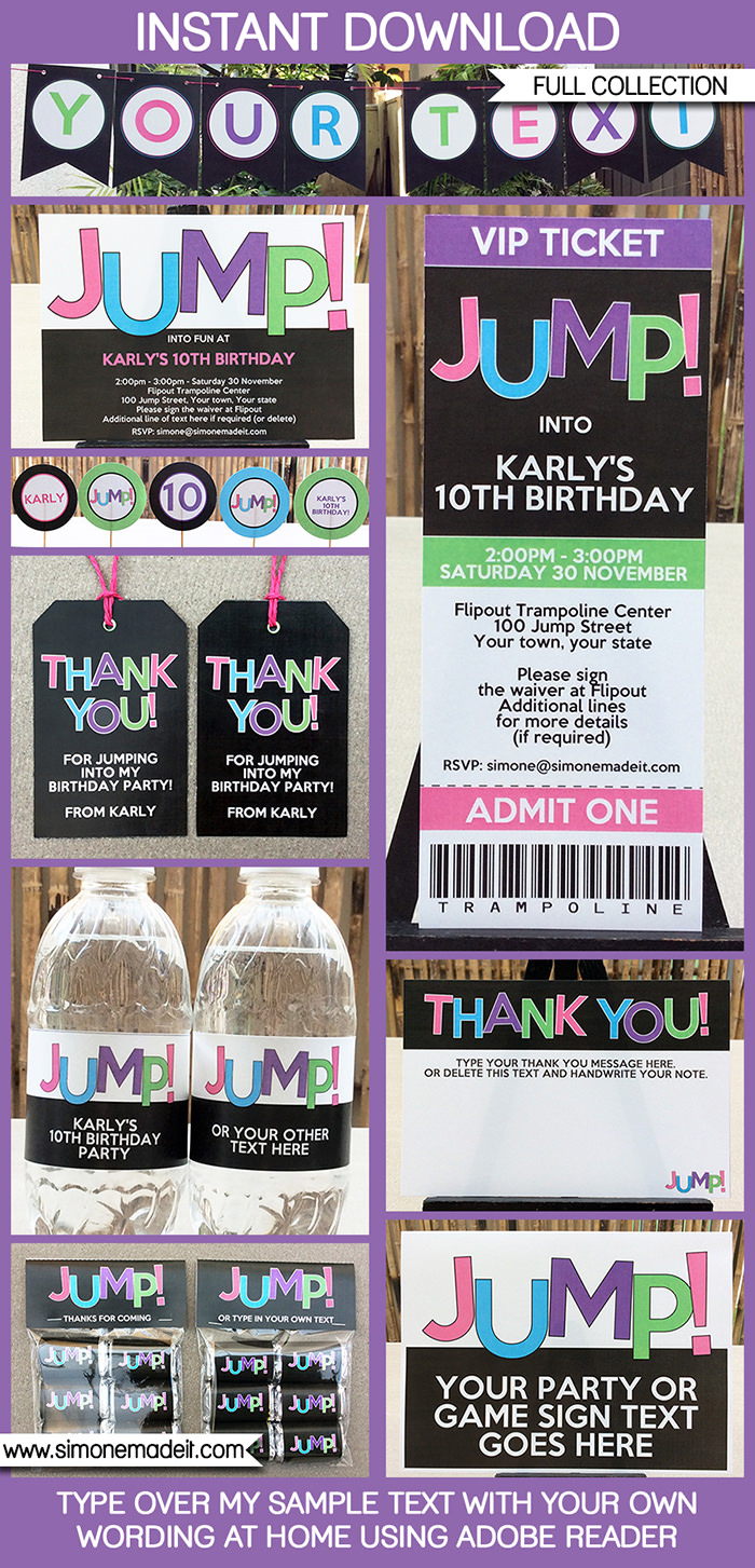 8 Images of Trampoline Party Invitations Printable