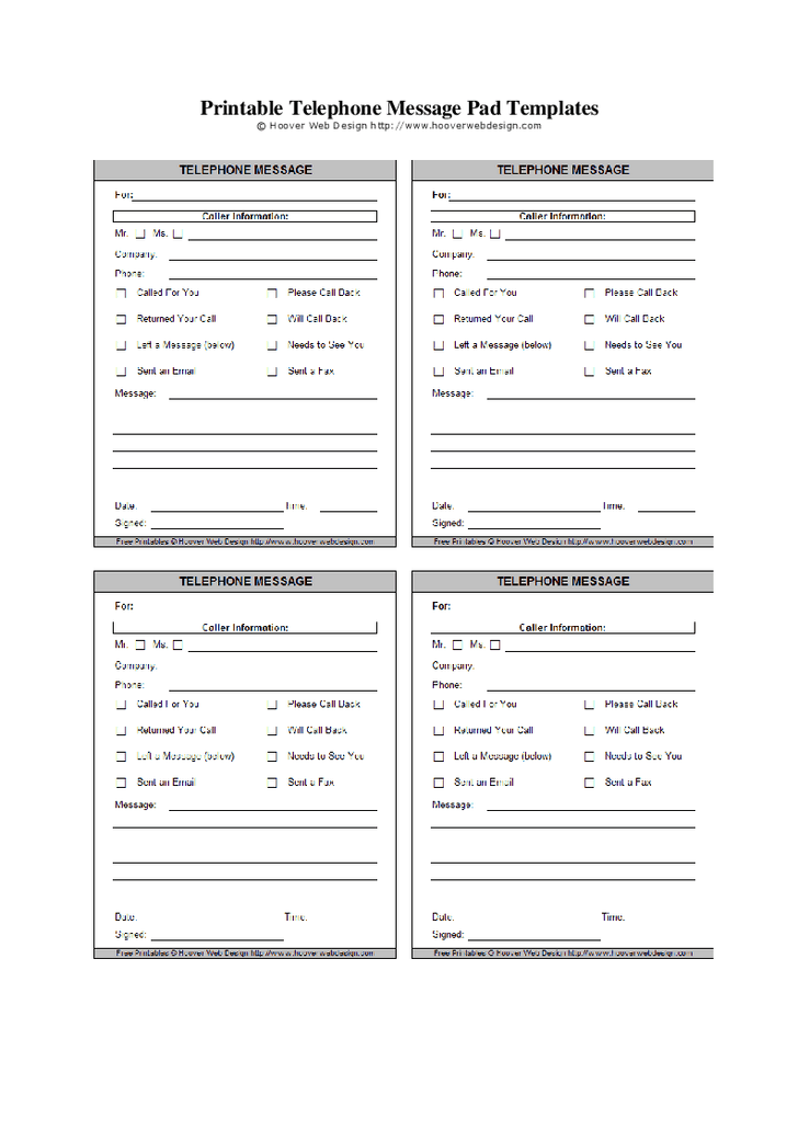 5 Images of Printable Message Pads