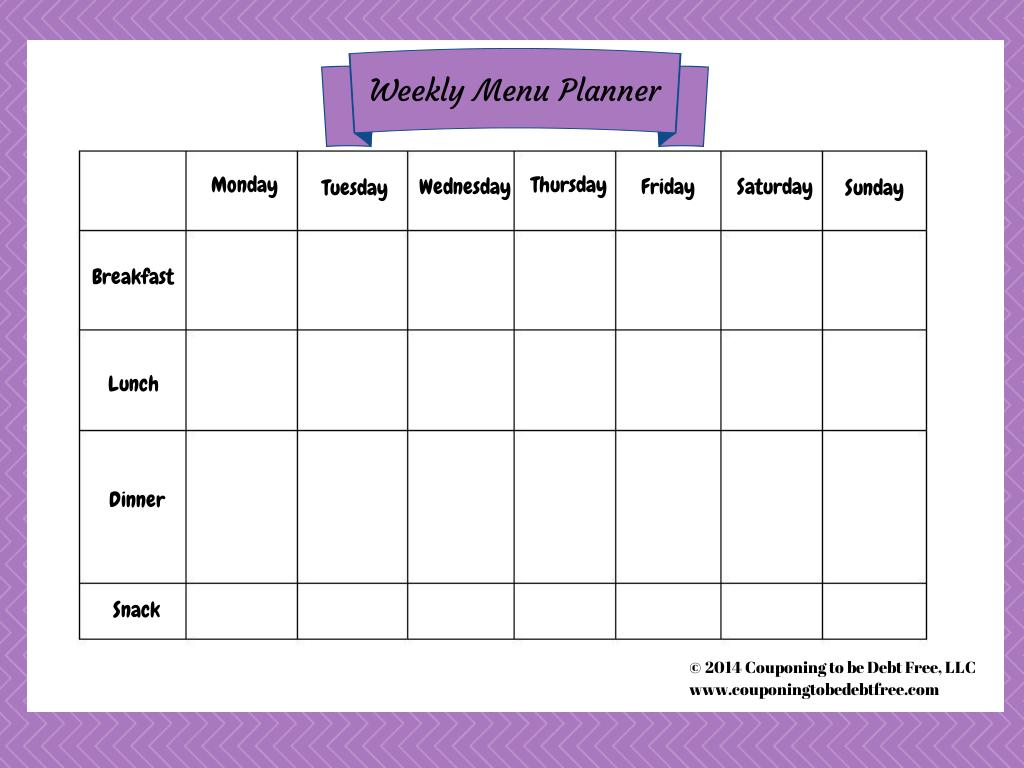 Week Menu Planner Printable