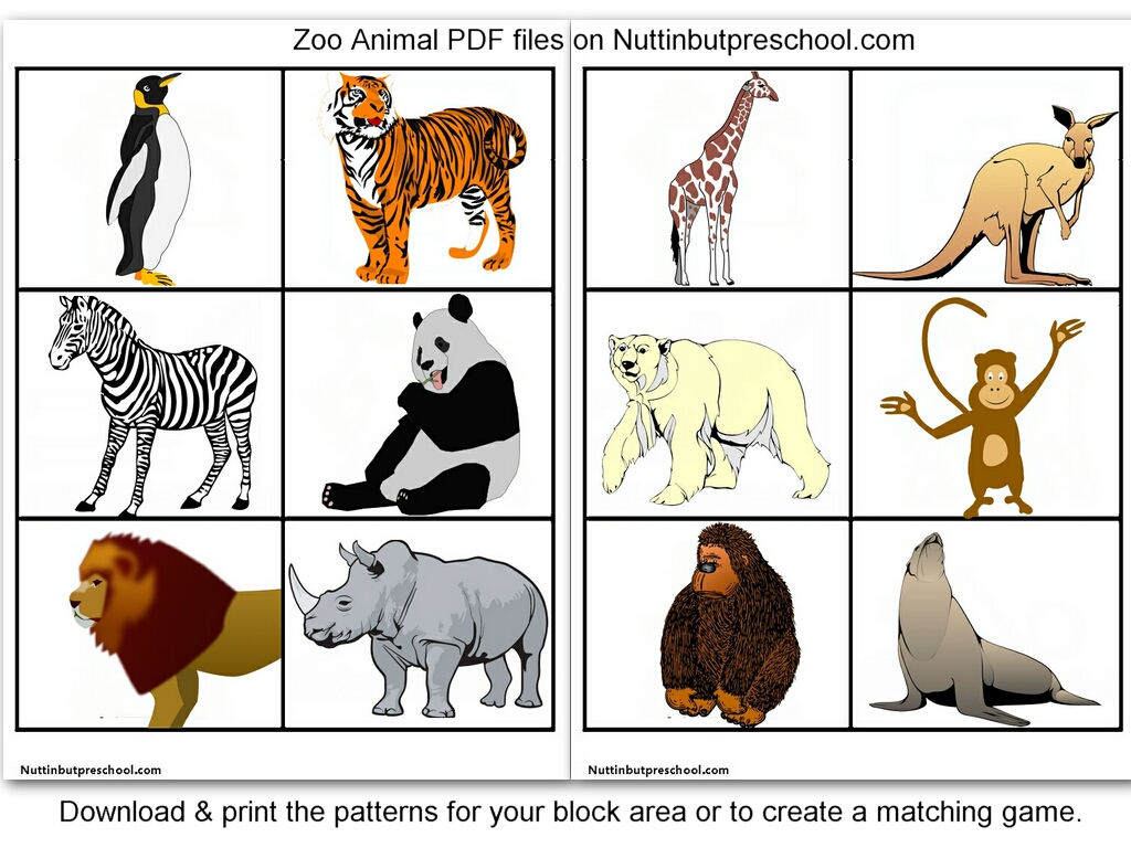 7 Images of Zoo Animals Matching Printables