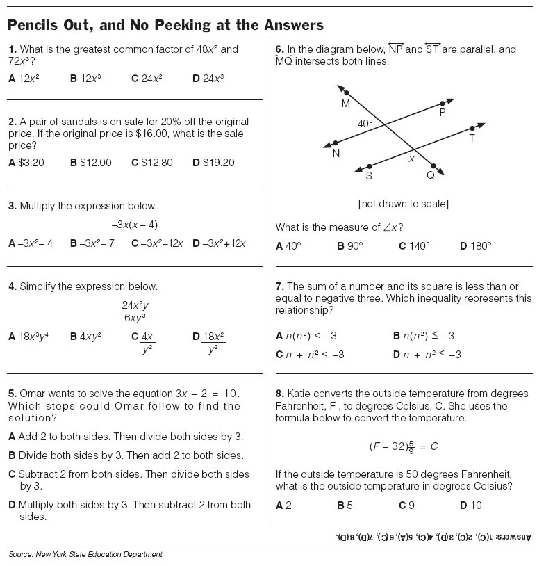 Free 8th grade math worksheets printable with answers