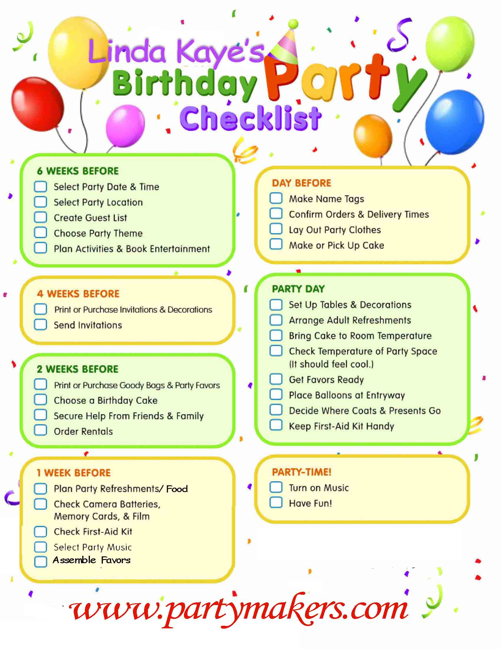 birthday party checklist 8 best images of 50th birthday checklist printable 28932