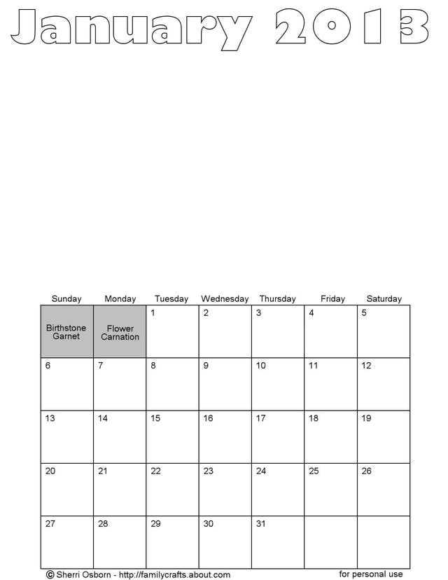 6 Images of Printable Blank Calendar Pages 2013