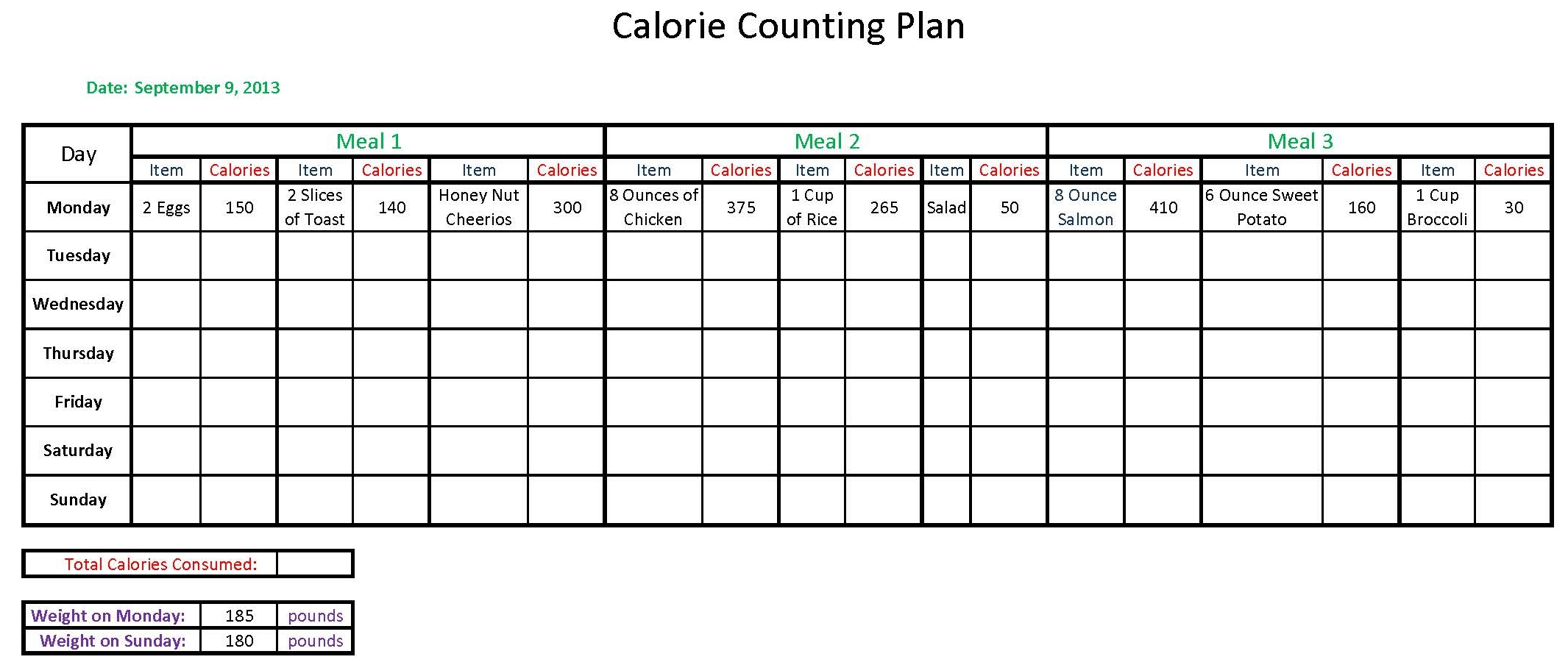 Calorie Counter Worksheet - ommunist