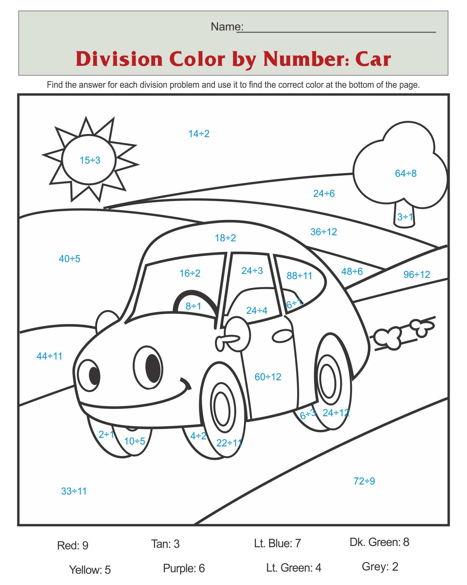 Car Color by Number Coloring Pages