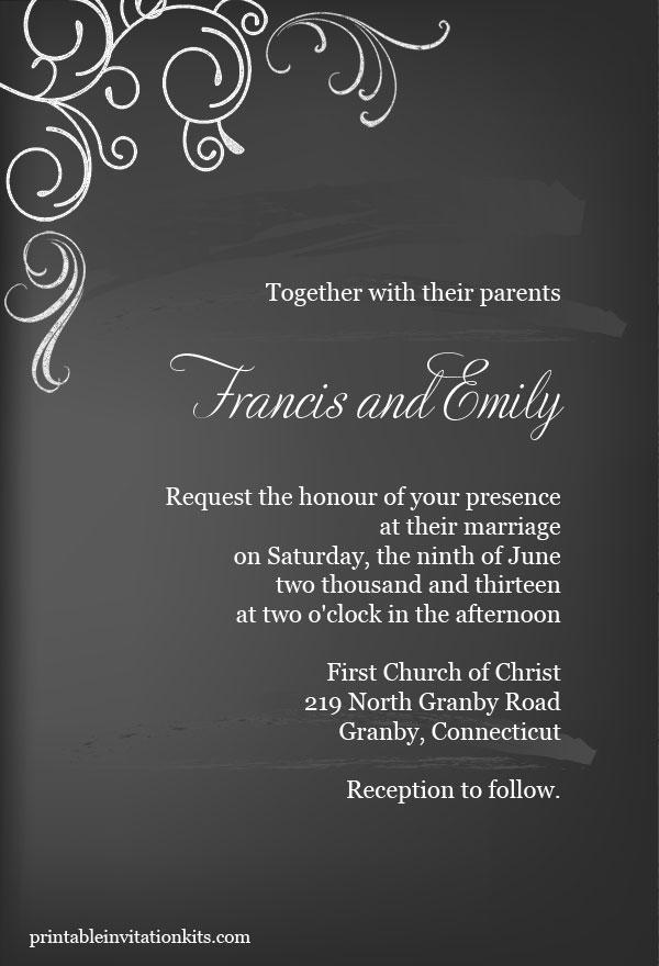 8 Images of Chalkboard Wedding Invitation Printable Template