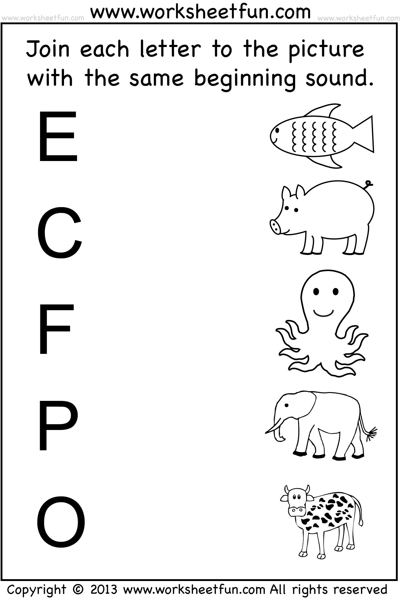 Free Kindergarten Beginning Sounds Worksheets