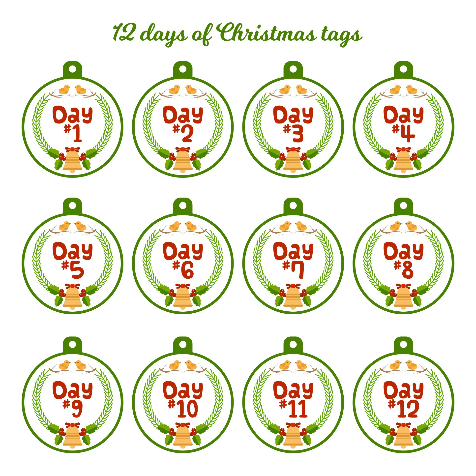 Printable 12 Days of Christmas Tags