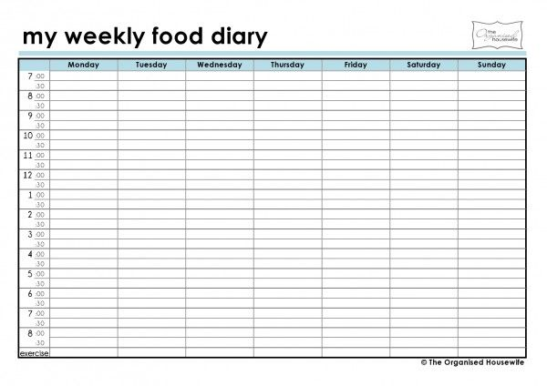 7 best images of free printable weekly food journal free for Food diaries templates
